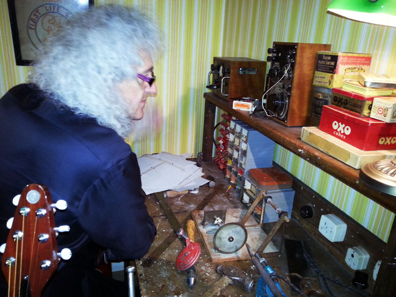 Brian checks out the radio sets built by his dad that he'd not seen for a while. A deep moment. The original tin of Rustins can be seen just to the right of the taller radio Pic © S Bradley
