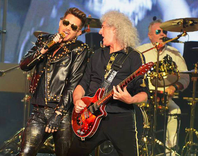 Brian and Roger with Adam Lambert at The Joint, Las Vegas, 6th July 2014 Pic (c) Steve Spatafore/Brianmay.com